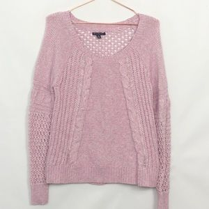 American Eagle Pastel Cable Knit Sweater Like New Medium Pink White Purple